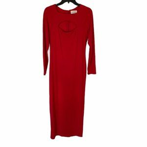Vintage Red long sleeve cut out long dress
